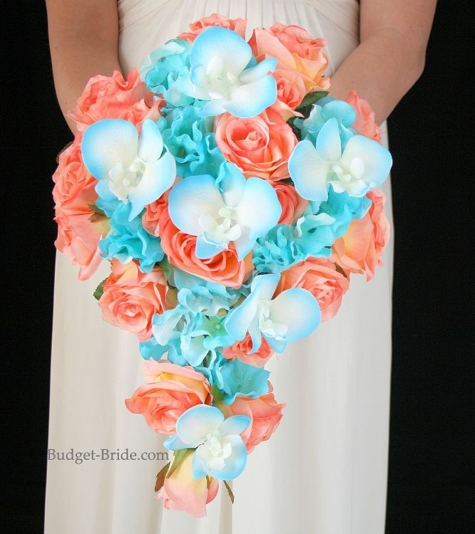 Cascading Brides Bouquet with coral roses, malibu blue tipped orchids, and malibu blue hydrangea
