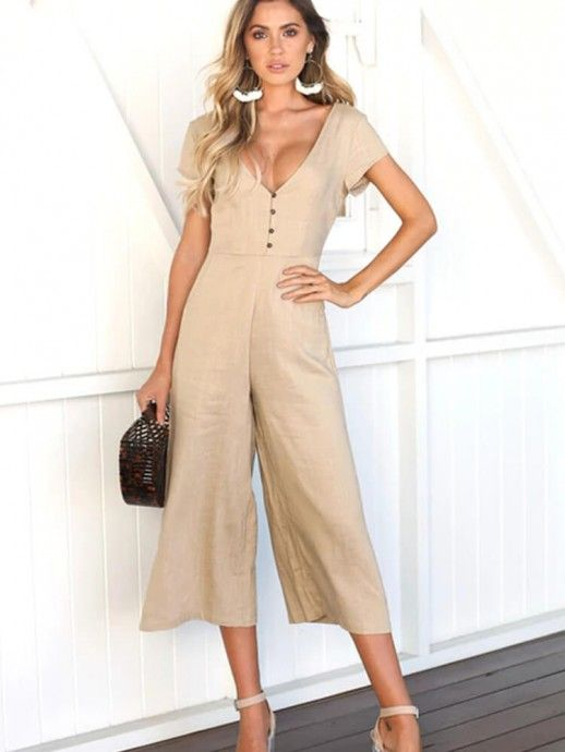 88afde241623 Summer Women Fashion Deep V-Neck Short Sleeves Front Button Loose Sexy  Jumpsuits