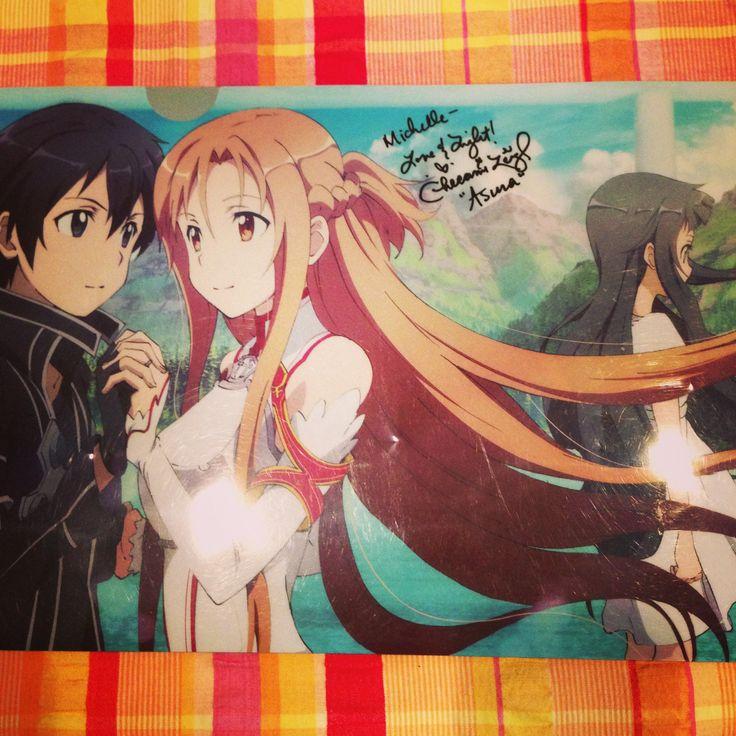 "Got a signature from Cherami Leigh. She's such a sweet person. :) ""Asuna"" - Sword Art Online"