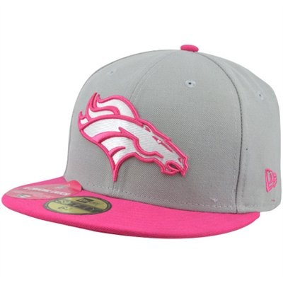 New Era Denver Broncos Breast Cancer Awareness On-Field Player 59FIFTY Fitted Hat - Gray/Pink