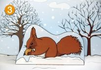 Pop-Up: The Squirrel in Winter for the Squirrel Lapbook for Children. More lapbook resources available at www.kigaportal.com!