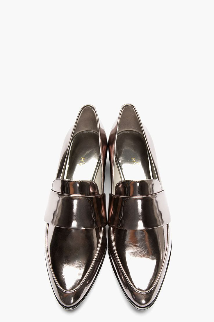 metallic reflective pointy toe flats--3.1 philip lim