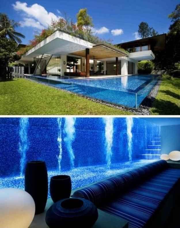 Uma piscina revestida de vidro que dá no porão | 36 Coisas que você obviamente precisa na sua nova casa