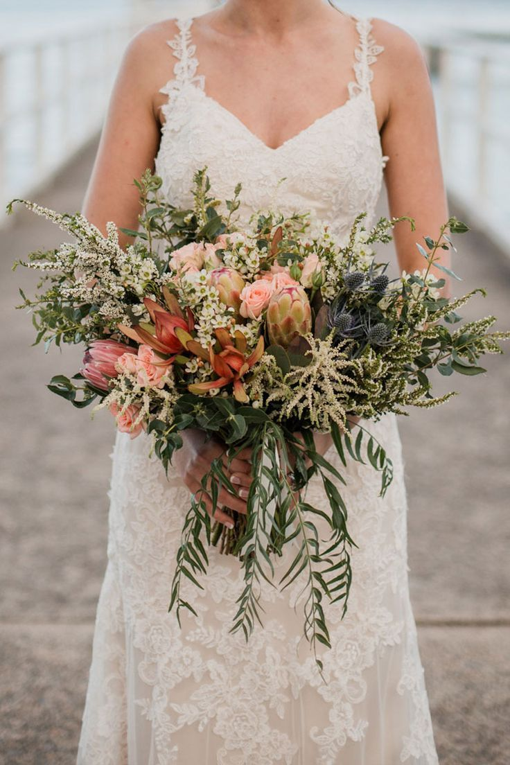 Rustic wedding bouquet with Australian native flowers | Bless Photography
