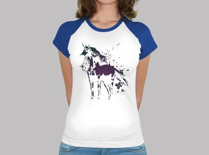 Camiseta unicornio nº 1535567. Camiseta estilo béisbol para chica, estilo femenino y moderno con un corte entallado y tacto suave. 100% algodón semipeinado, 150 gr/m2..