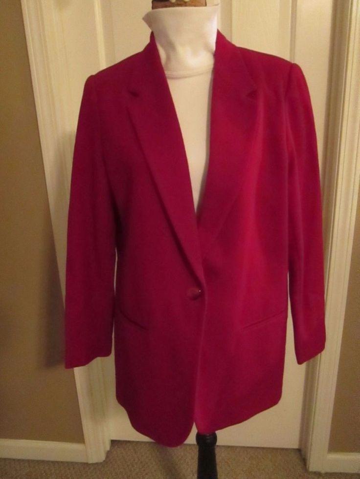 Sag Harbor Womens Red 100 Wool Lined Career 1 Button Blazer Jacket Coat | eBay