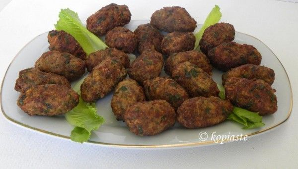 Keftedes small greek meatballs. Serve with tzatziki sauce