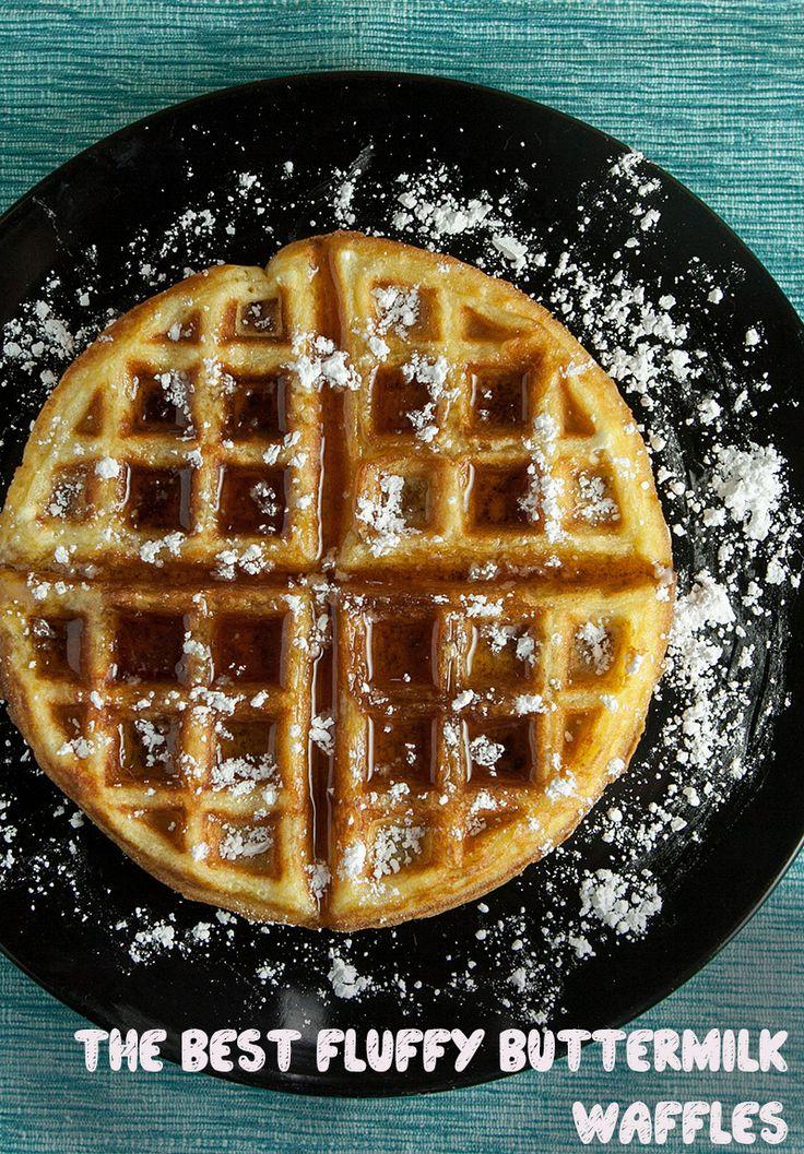 Fluffy Buttermilk Waffles.  Who doesn't love breakfast for dinner?