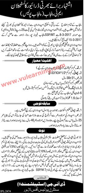 MT Punjab Police Department Jobs 2017 Driver Constables Latest