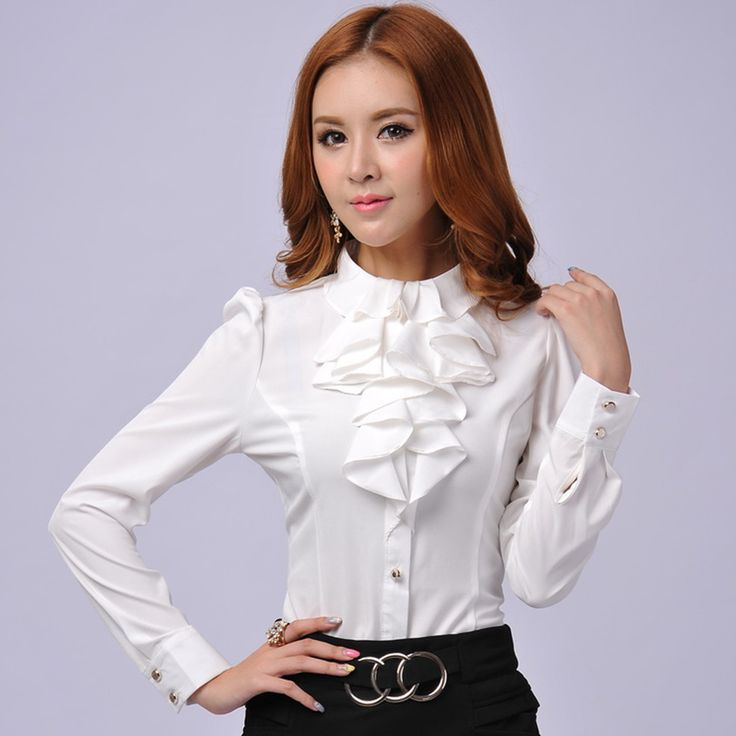 New Autumn Spring fashion formal women shirts long sleeve for ladies blouse white long sleeve Lady Shirts Ladies Blouses Ruffles $19.50