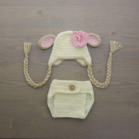 Crochet Lamb Baby Costume, Crochet Lamb Costume, Newborn Costume, Crochet Costume, Crochet Lamb Hat, Newborn Photo Prop, Diaper Cover Set $36.90