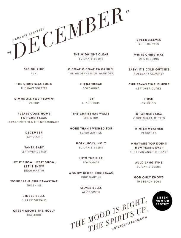 December playlist via Note to Self