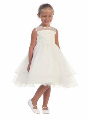 Ivory Illusion Neckline Dress