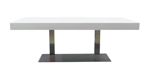 Tenzo 4800-001 Bloc - Designer Esstisch, Tischplatte 12 cm Wabe mit MDF-Beschichtung, weiß, lackiert, matt, Edelstahluntergestell, 77 x 220 x 100 cm (HxBxT)