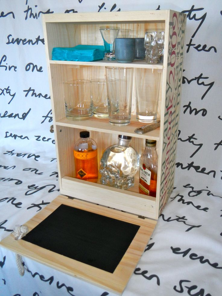 a great wall mounted liquor cabinet or countertop mini bar made from an old wine crate perfect. Black Bedroom Furniture Sets. Home Design Ideas