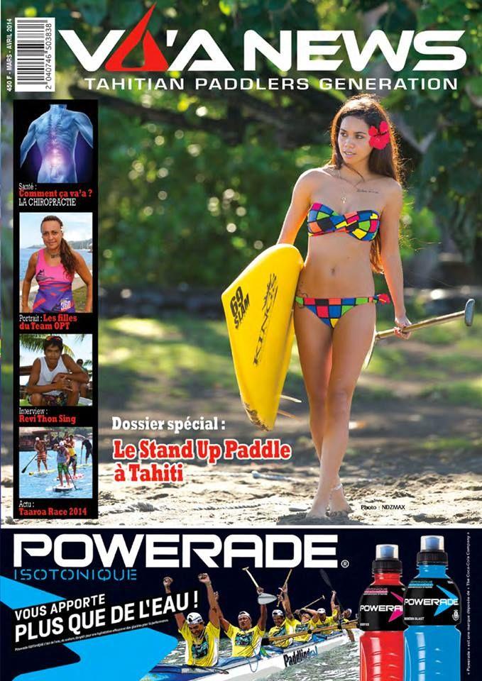 "Tahitian beauty wearing #69slam swimsuit on ""Tahitian Paddlers Generation"" magazine. March 2014"