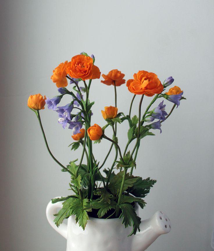 #Букет_луговыецветы #ручная работа #полимерная глина #керамическая флористика #жарки #купальница #колокольчики #оранжевые цветы