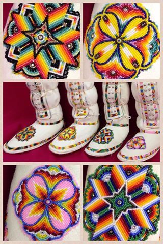 Native American Ladies southern style buckskin leggings with white latigo hard soles. Finished in 13/0 cut glass beads visit us online at www.sharpsindianstore.com Follow us on instagram and twitter at @John Sharps Indianstore