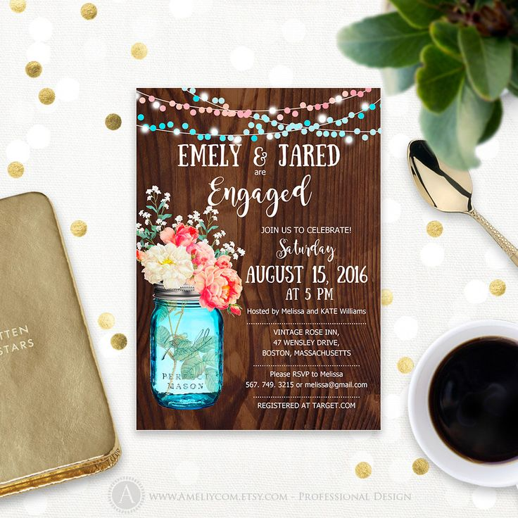 Rustic Engagement party Invitation Printable Mason Jar & Watercolor Flowers Wood Engaged invitation template Digital Engagement party invite by AmeliyCom on Etsy https://www.etsy.com/listing/293368361/rustic-engagement-party-invitation