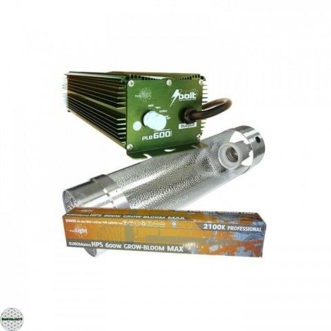 Kit Iluminación 600W Bolt + Cooltube + Bombilla Pure Light HPS para tu cultivo de marihuana de interior al mejor precio!