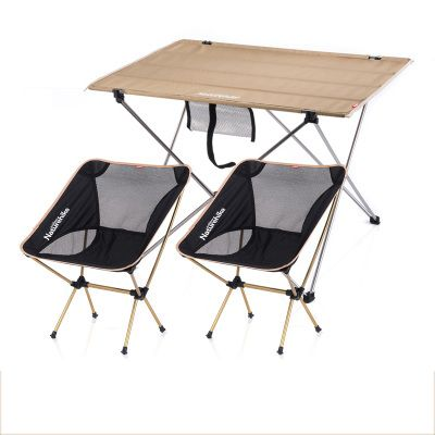 NH15Z012-S2 Khaki Large table+moon fishing chair*2 camoing table Fishing leisure chairs outdoor folding tables and chairs set