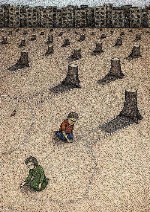 children are drawing the shape of a tree out of the stumps of trees. This picture is saying, the children in future generations won't understand what is was when trees were in the world because, we are destroying them and chopping them down. The type of satire being used id juvenile