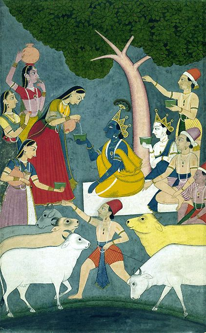 Radha giving bowl of curds to Krishna