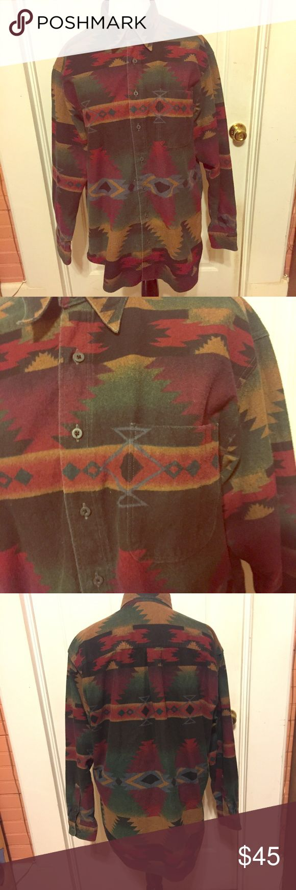 Vintage Woolrich Tribal/Western Print Jacket/Shirt Women's Vintage Woolrich Tribal/Western Print Jacket/Shirt. 100% Cotton. Size XL fits like a 12-14, possibly bigger. Would also look super cute on someone smaller too as an oversized shirt/jacket. The material is really thick, so it could work as a jacket. There's so many possibilities with this piece! Comment if you need measurements. Rare and unique item. In excellent condition. Has one breast pocket. Has two buttons on Sleeve cuffs so you…