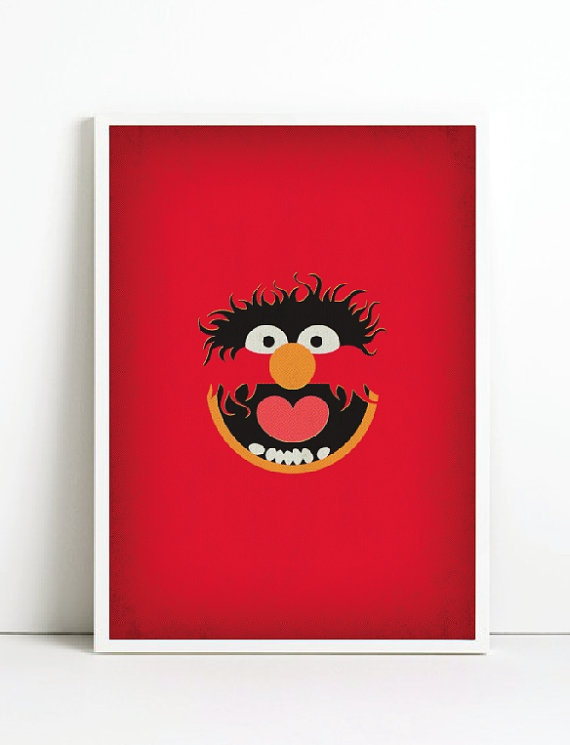 The Muppets Minimalist Poster Animal  Vintage Retro by TheRetroInc, $22.00 Vintage Retro Minimalist Style Poster Wall Art TheRetroInc.com @The_Retro_Inc