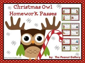 Free printable christmas homework passes