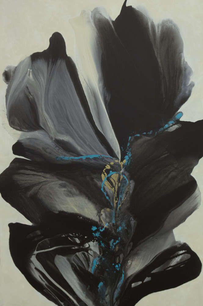 "Many Shades of Gray #2, 60x40"" acrylic/canvas, $8850. #santafeart #aletapippin #pourpainting"