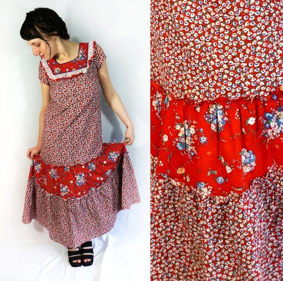 Frida Kahlo esque vintage red and floral folk dress with full skirt // Kaleidoscope Cult Vintage