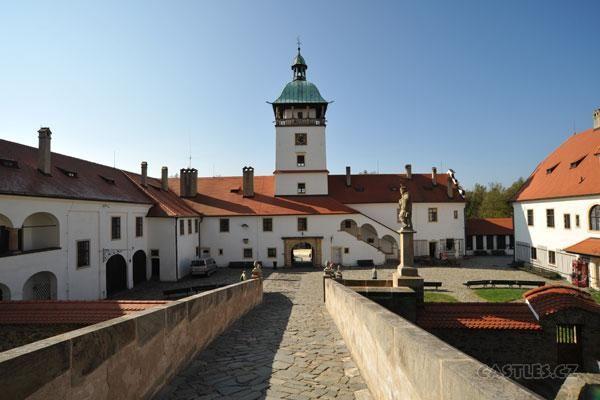Bouzov, outer buildings, courtyard and bridge to castle proper