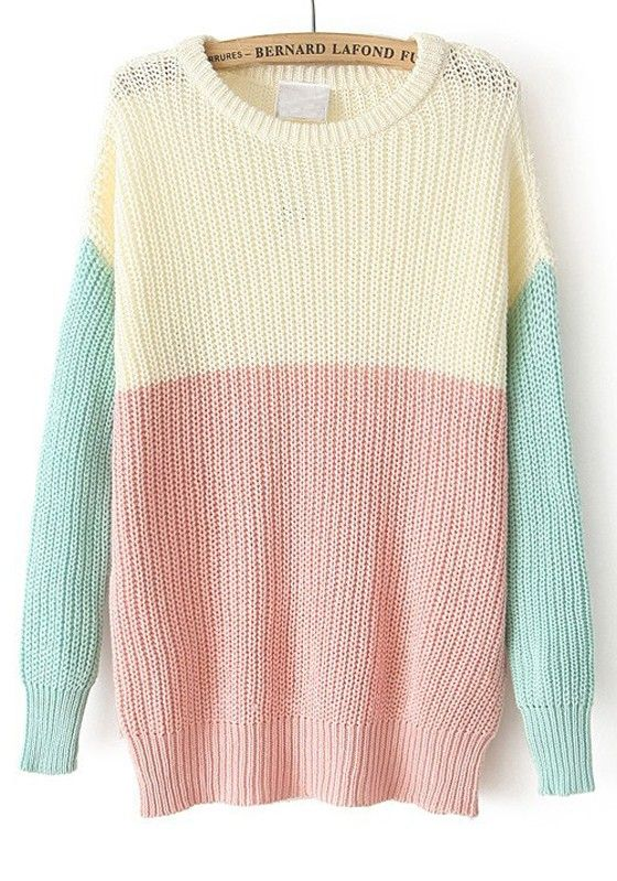 Multicolor Patchwork Round Neck Long Sleeve Cotton Sweater