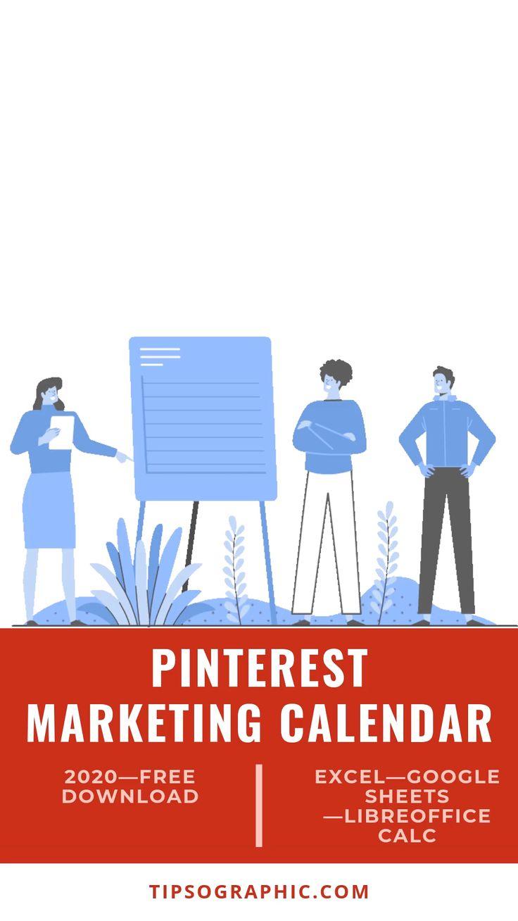 Pinterest Marketing Calendar Template for Excel, Free