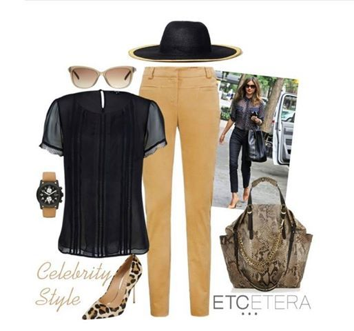CELEBRITY STYLE. Get the look with the TEMPTRESS black silk georgette blouse and the ELK cotton velveteen slim pant.
