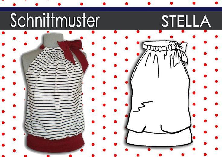Sommer Top Stella Ein einfacher und genialer Schnitt !Für Anfänger geeignet. Weit geschnittenes Sommer Top mit Jerseybund. Der Halsausschnitt ...
