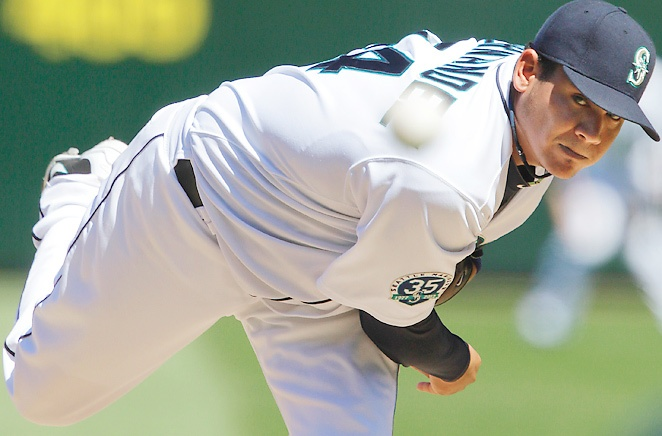 Felix Hernandez, who pitched the first perfect game in Mariners history, is seeking his second AL Cy Young award.
