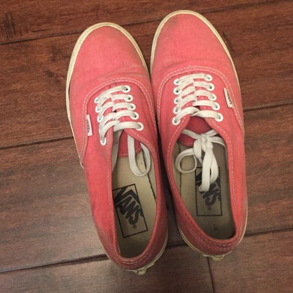 Coral Vans Pre-loved Vans, size 7. Has some stains, but can come out from wash. Vans Shoes Sneakers