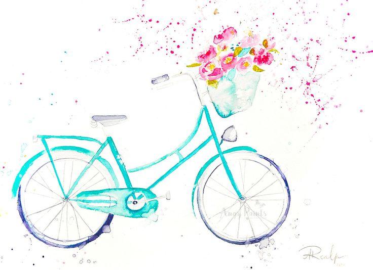 Bike Watercolor Art, Original Artwork, Original Watercolor Painting, Bike Art, Bike Wall Art, Bicycle Art, Bicycle Painting, Peony Painting by AngyPaints on Etsy (null)