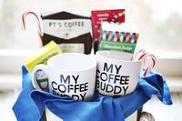 His + Hers Coffee Gift Basket - A Beautiful Mess. Cute idea