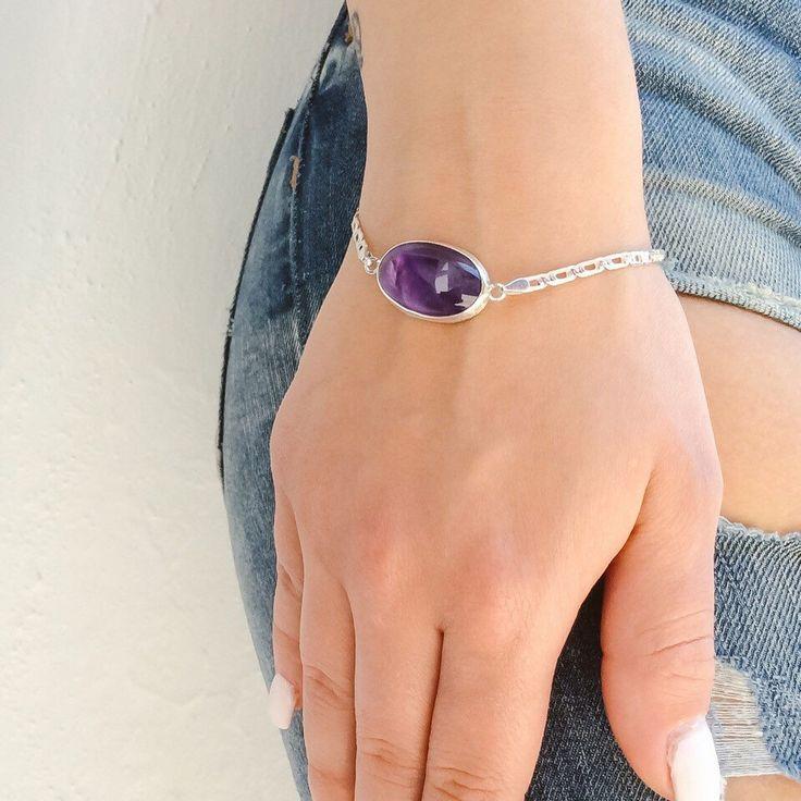 A personal favorite from my Etsy shop https://www.etsy.com/listing/235417780/purple-amethyst-bracelet-oval-bracelet