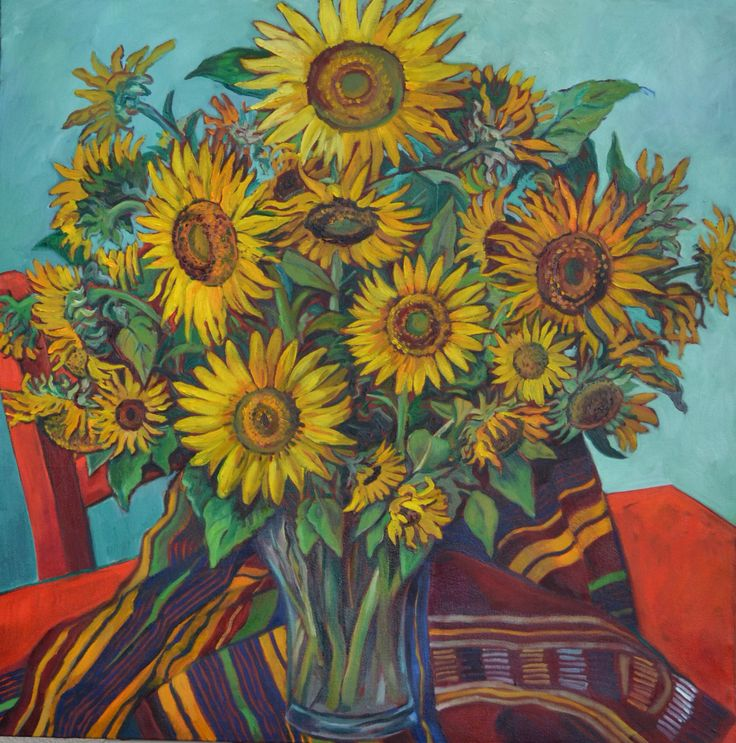 Sunflowers with red chair Tertia Dorfling