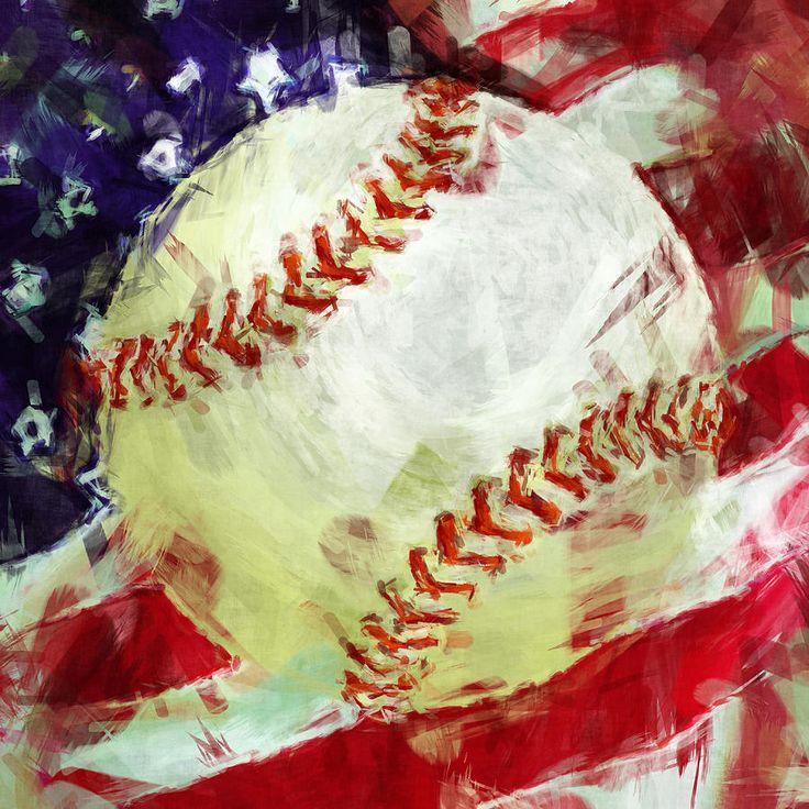 Baseball Digital Art - American Baseball Abstract by David G Paul