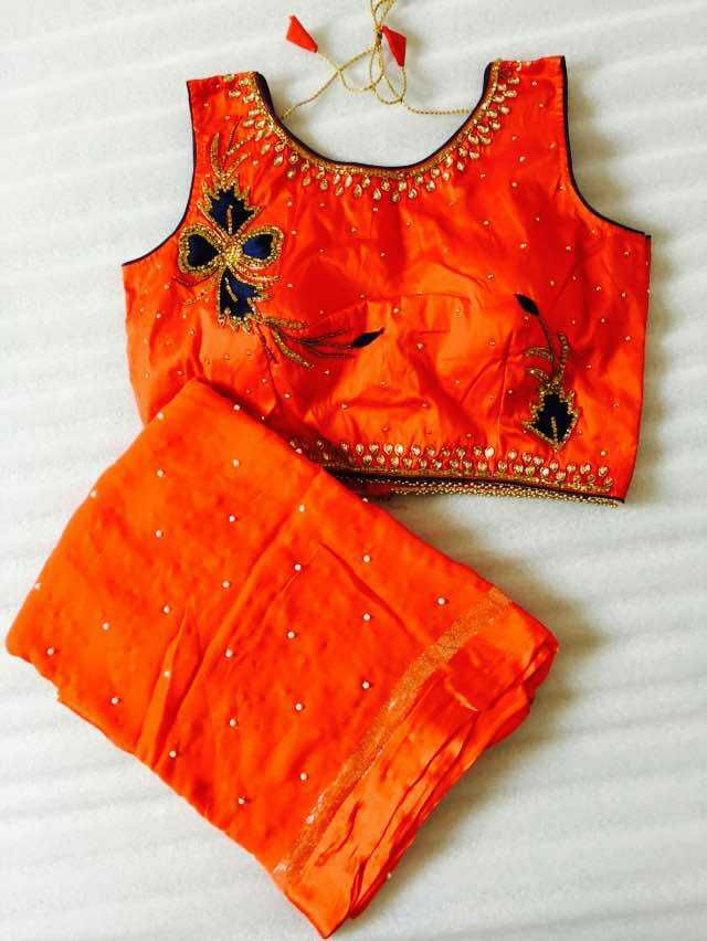 Georgette saree with designer blouse max size 40