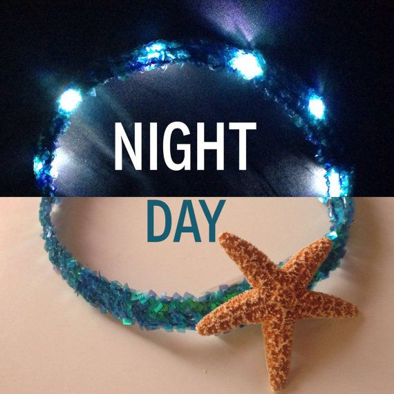 ✿A Sequin headband with LEDs inside and a real 3-4 inch starfish accent :)✿ Perfect for all you mermaids out there! ✿SIZING✿ One Size