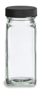 Spice Jar Square Glass 4 oz w/ Shaker Fitment and Black Lid