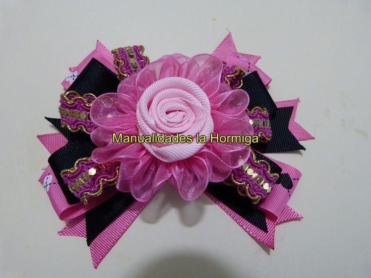 moños  flores en cinta fáciles de elaborar para decoración de peinados p...