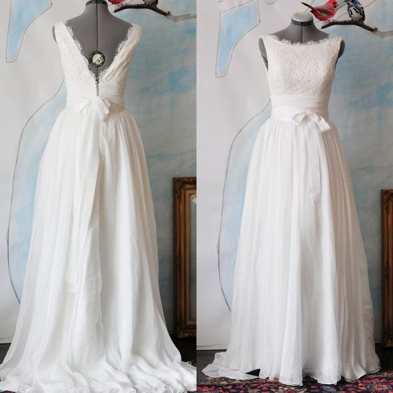 Lovely Custom Angie Wedding Dress Gown Made to order Deep V neck and Boat neck option A line flowy chiffon with eyelet lace overlay