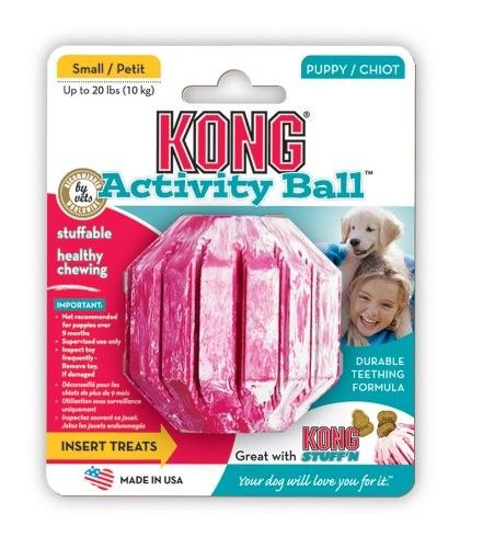 The KONG Puppy Activity Ball is the perfect toy for puppies with energy to burn. Fill the center or grooves of the Activity Ball with KONG Puppy East Treat, Snacks or Ziggies and watch the fun begin.  #Dogs #Dog #Pets #Pet #Gift #Gifts #Christmas #Holiday #Holidays #Present #Presents #Accessories #Dog #Dogs #Chew #Toys #Toy